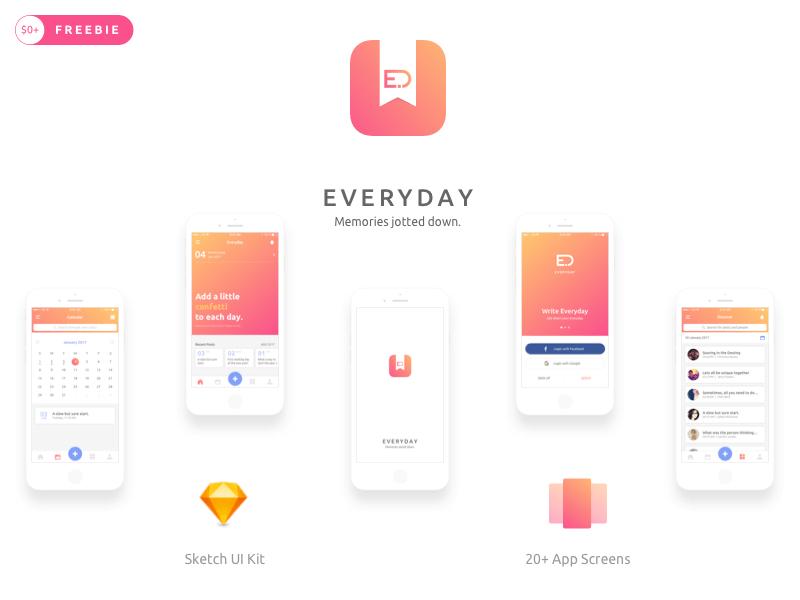 Everyday iOS Journal App UI Kit cover image