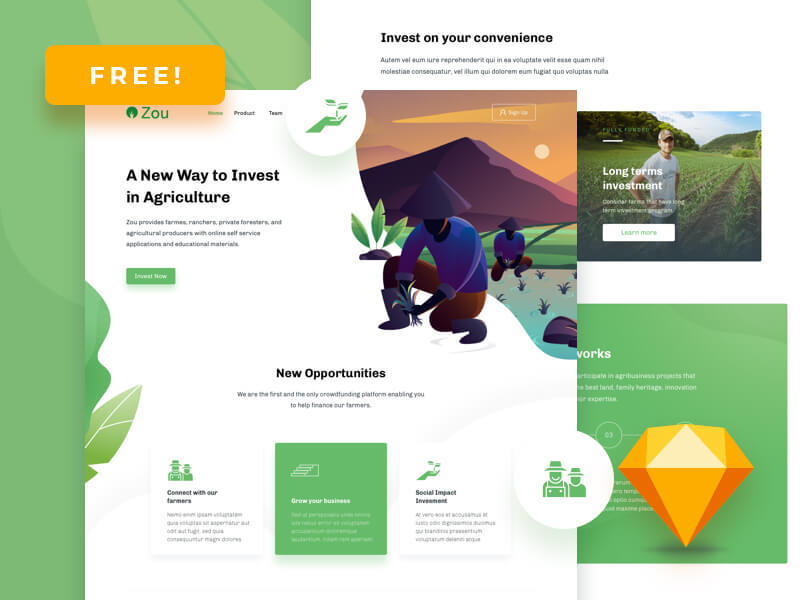 Zou - Agriculture Homepage Design Template cover image