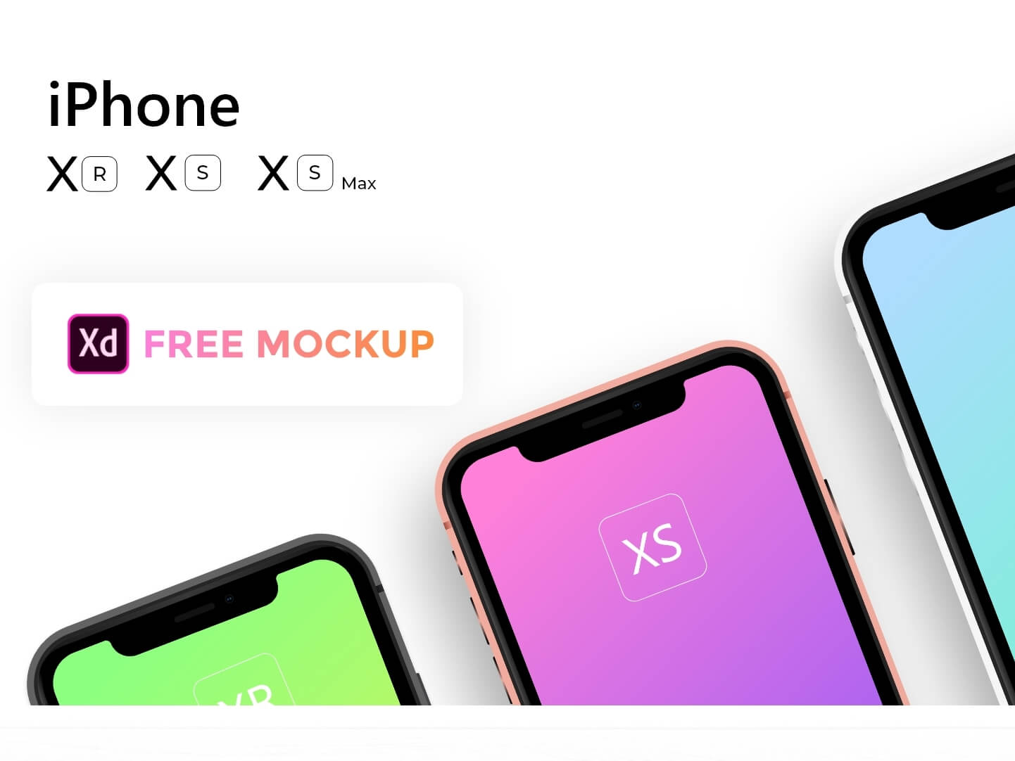 Free Apple iPhone Xs, Xs Max, Xr Mockup cover image
