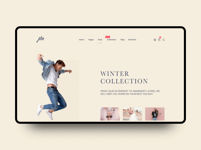 Jibo fashion landing page cover image