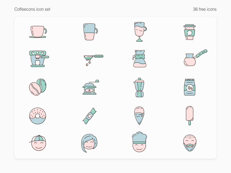 Coffeecons - free vector icon set cover image