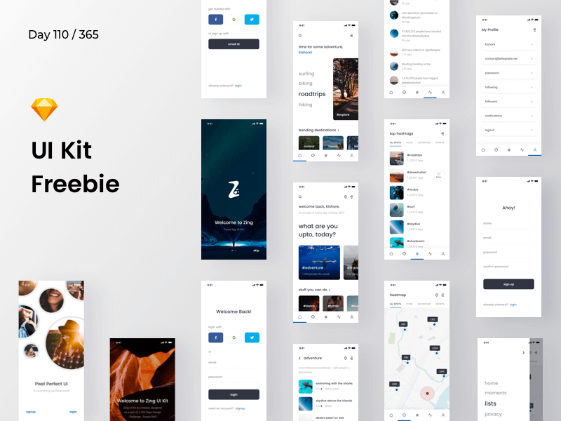 Zing - Mobile UI Kit | Day 110/365 - Project365 cover image