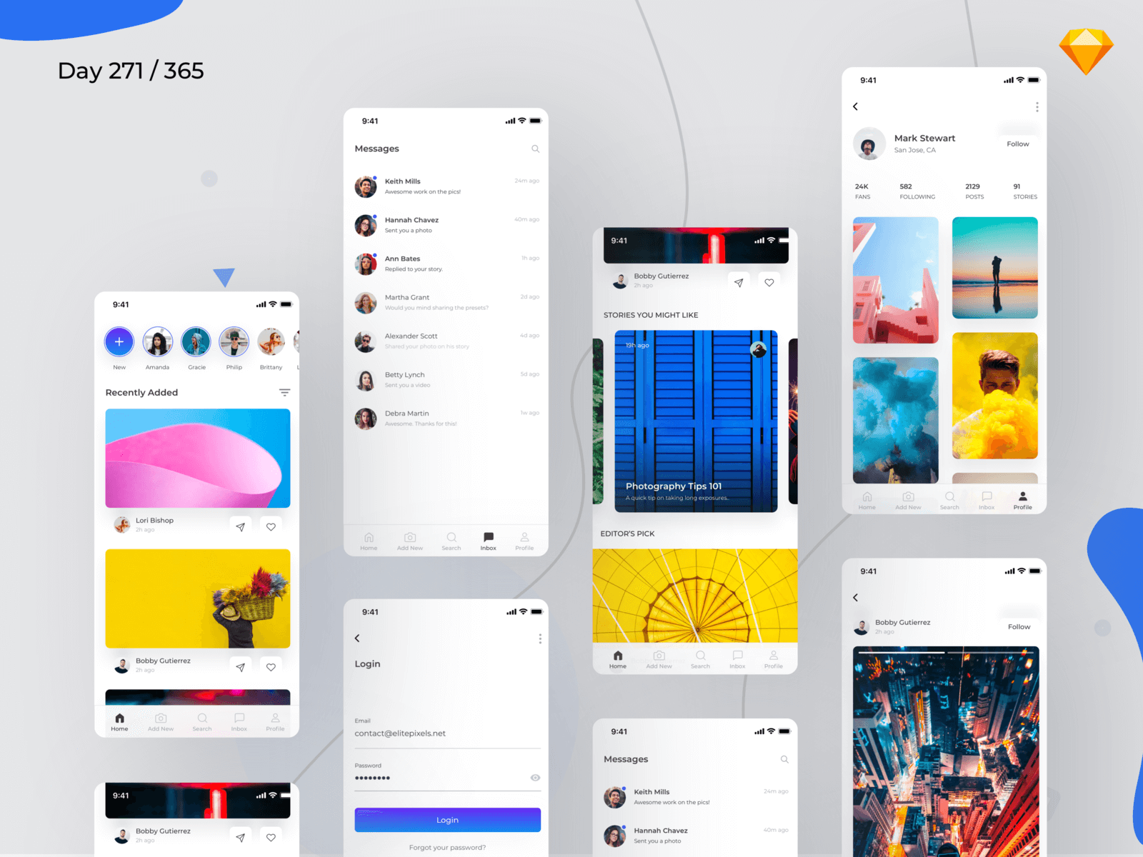 Social App UI Kit | Day 271/365 - Project365 cover image