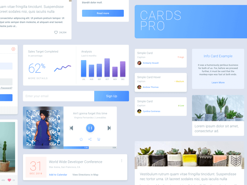 Cards Pro - Free UI Kit cover image