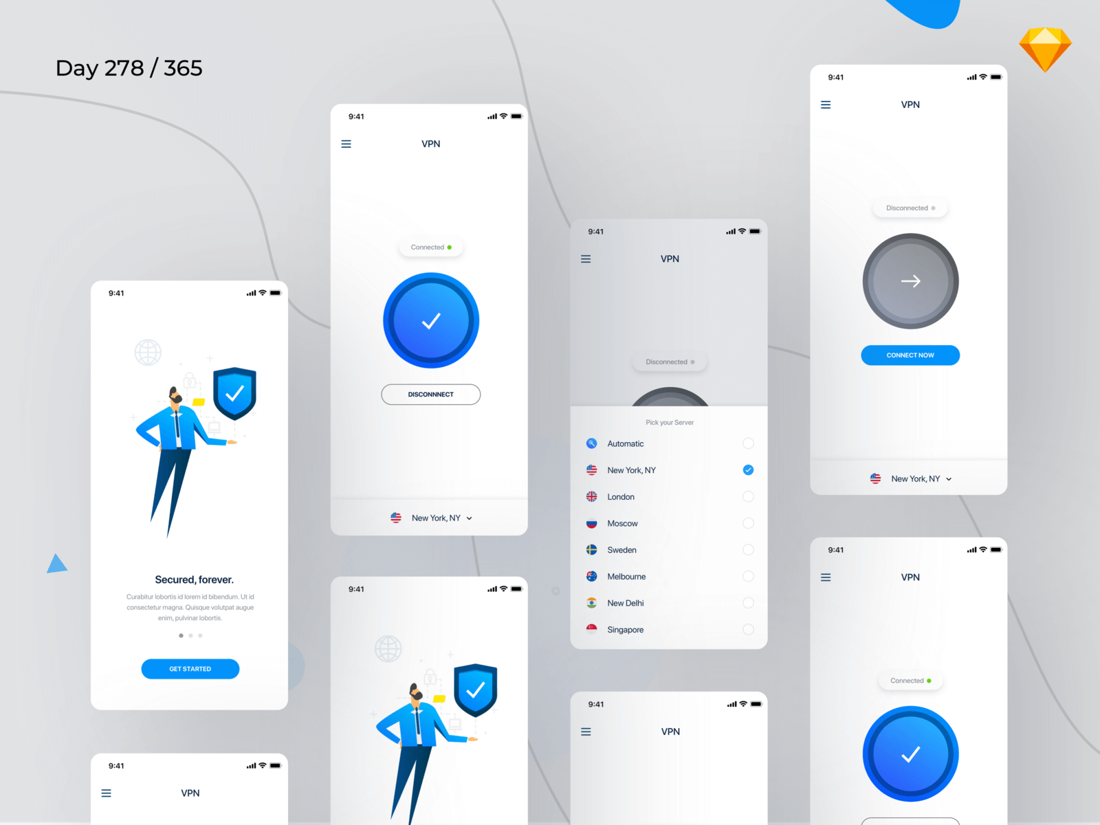 VPN Mobile App UI Kit | Day 278/365 - Project365 cover image