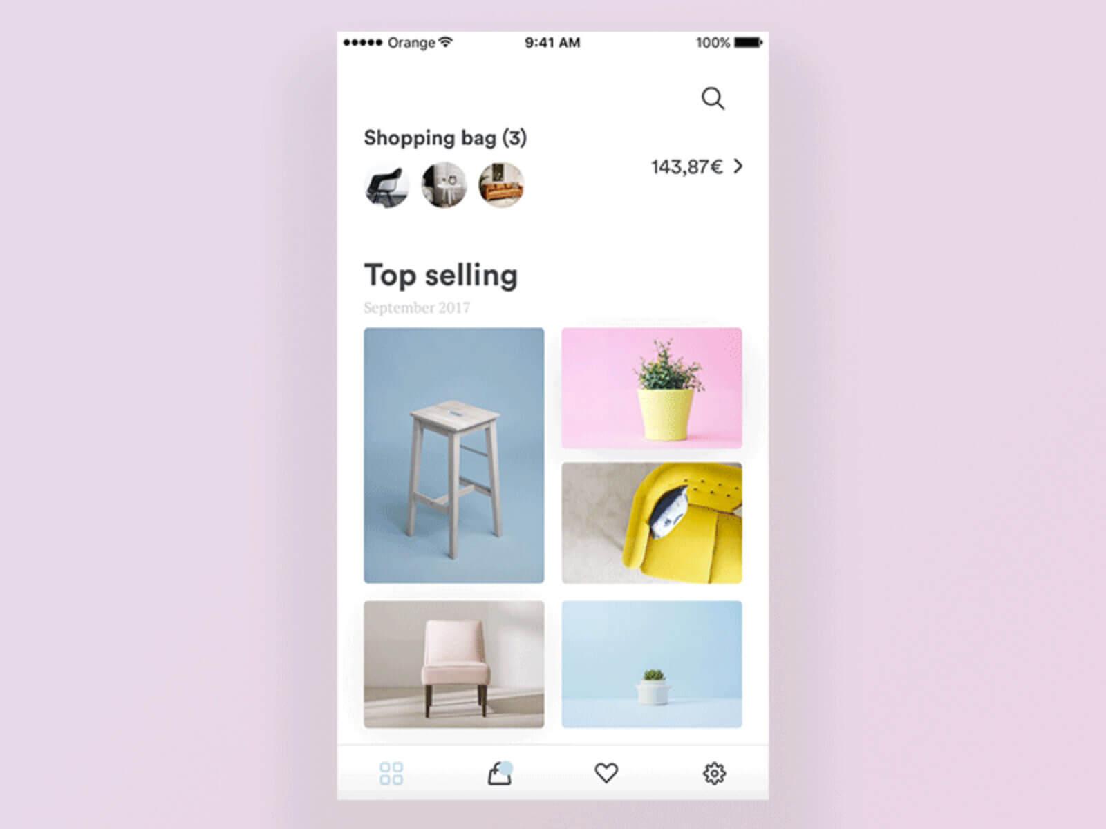Furniture shop app minimalist cover image