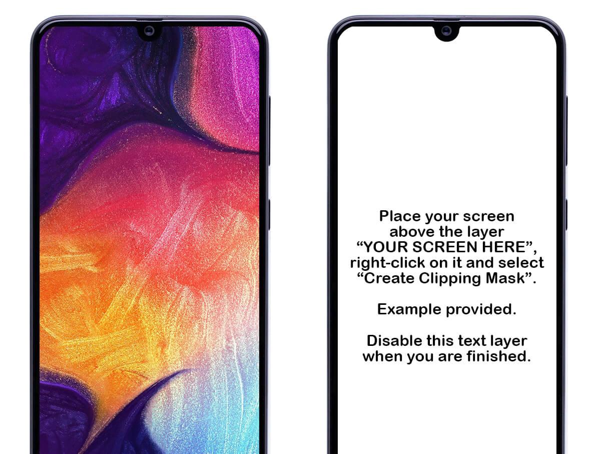 Samsung Galaxy A50 Mockup PSD cover image