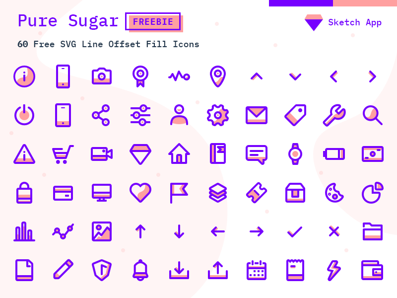 Pure Sugar - 60 Free SVG Icons Pack - Sketch Vector Icon Freebie cover image