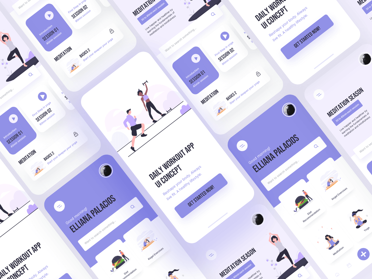 Free Work Out Fitness App UI cover image