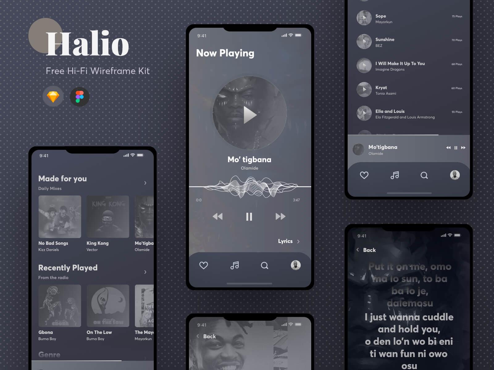 Halio - Free Hi-Fi Wireframing Kit cover image