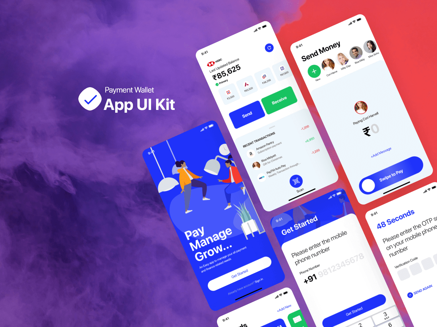 Payment Wallet Mobile App UI Kit cover image