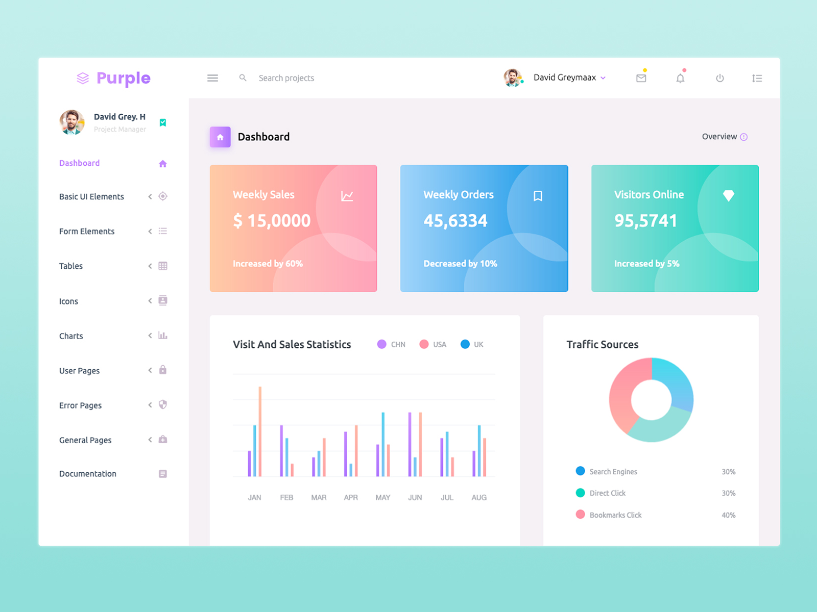 Purple Free React Dashboard cover image
