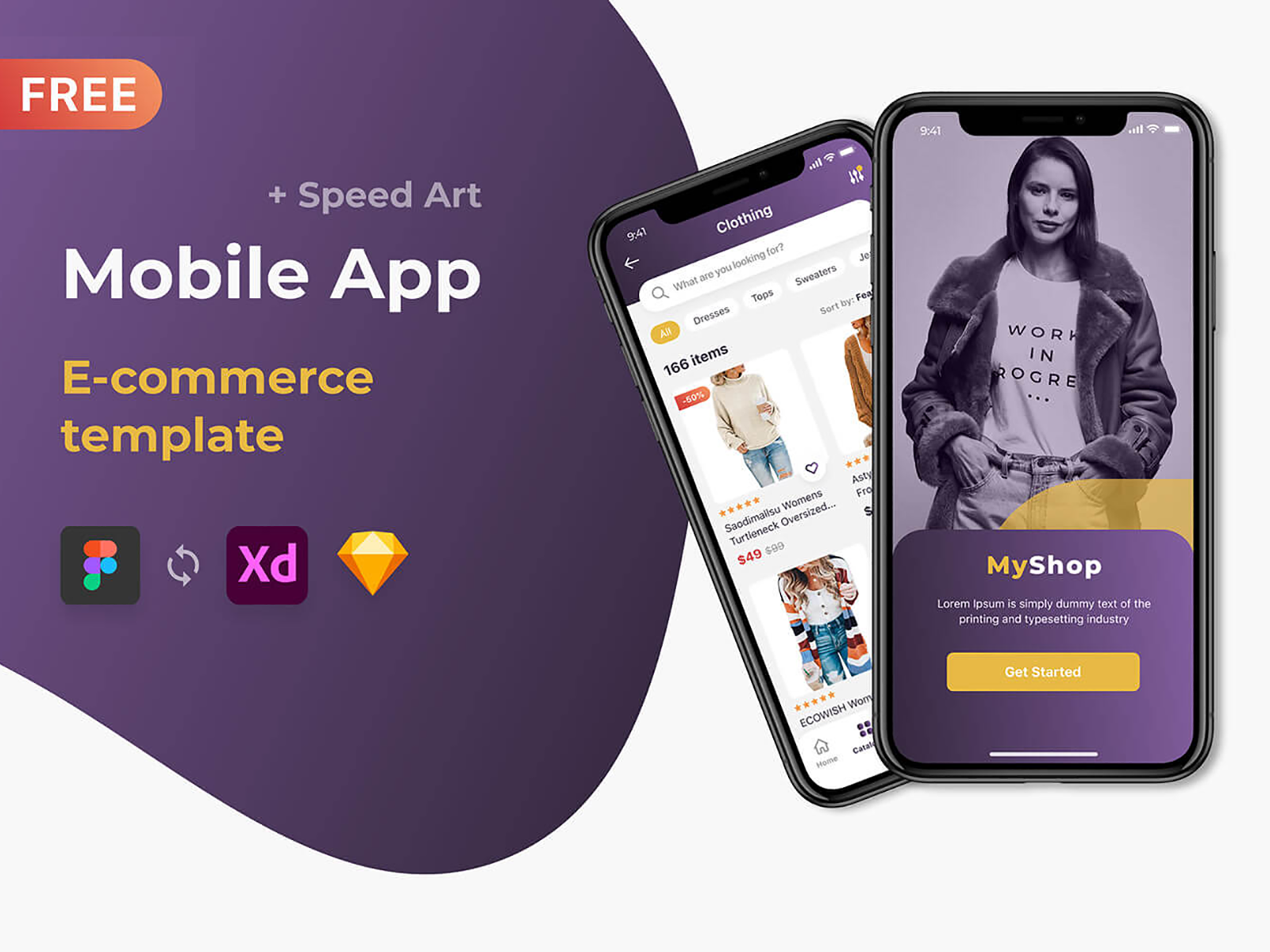 Free Mobile App \ E-commerce template \ Figma \ UI \ Store \ Shop cover image