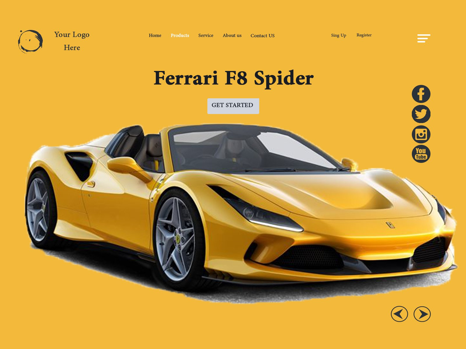 Car Website Header Concept cover image