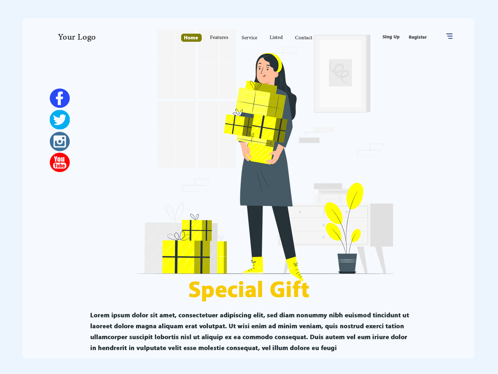 Special Gift Website Header Concept cover image