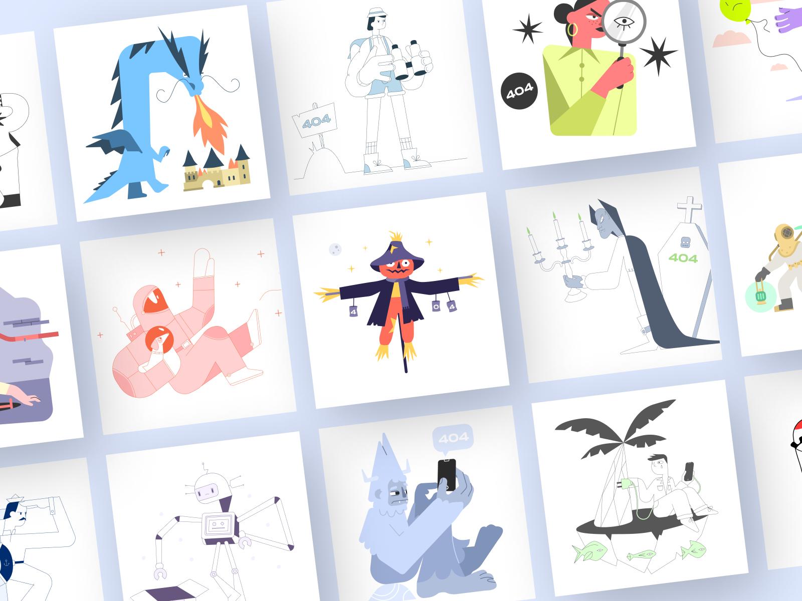 Error 404 Illustrations cover image