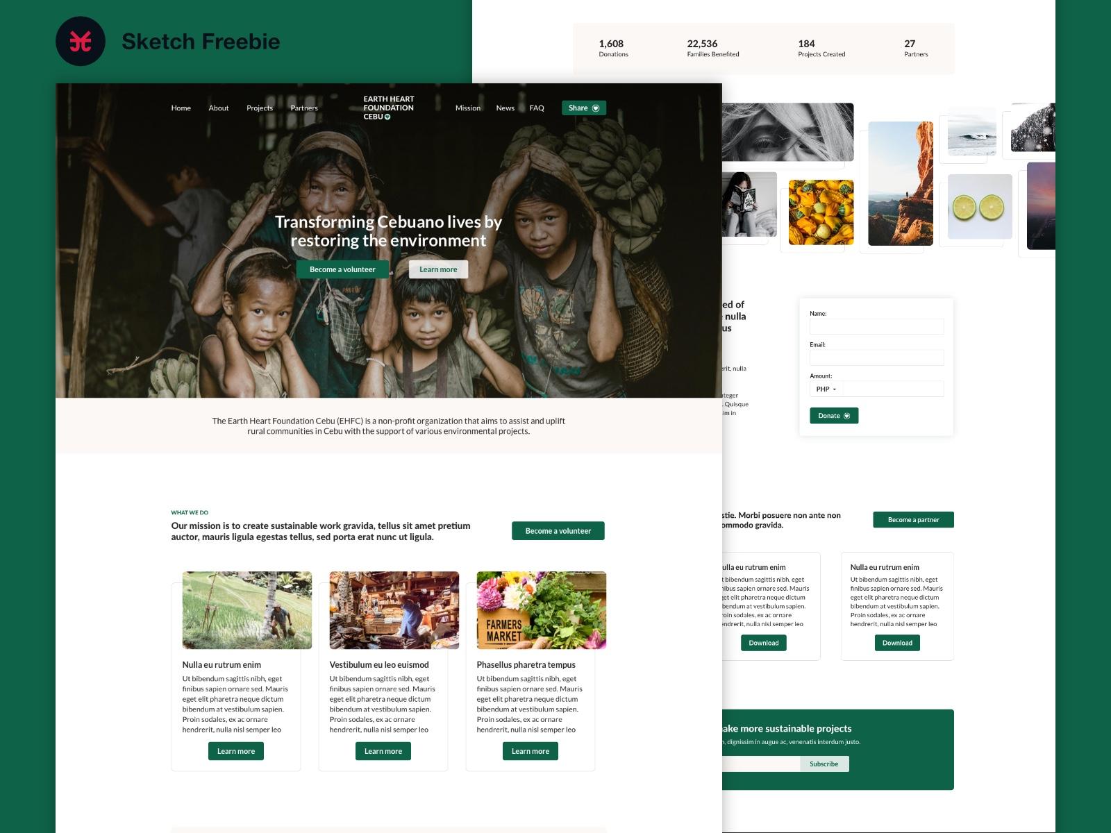 Charity Homepage - Sketch Freebie cover image
