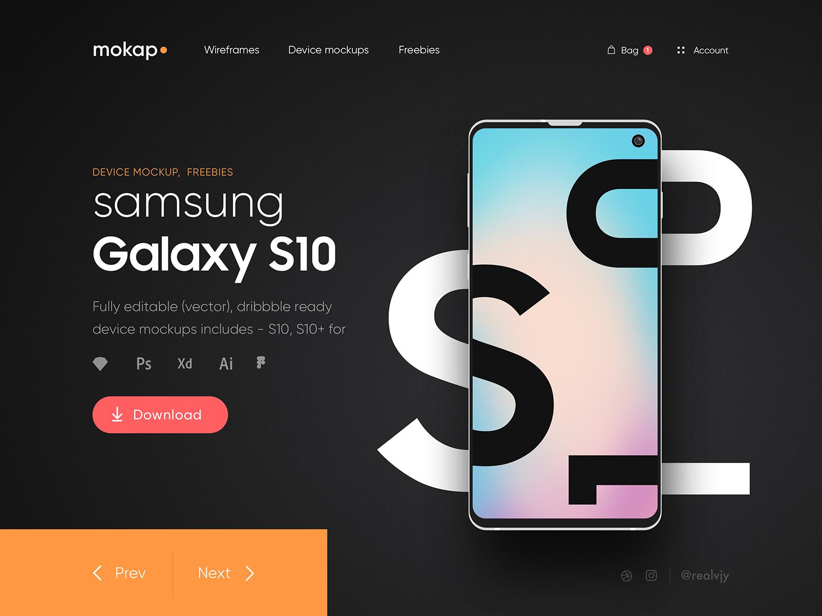 Mokap - Freebies Samsung S10 Mockups cover image