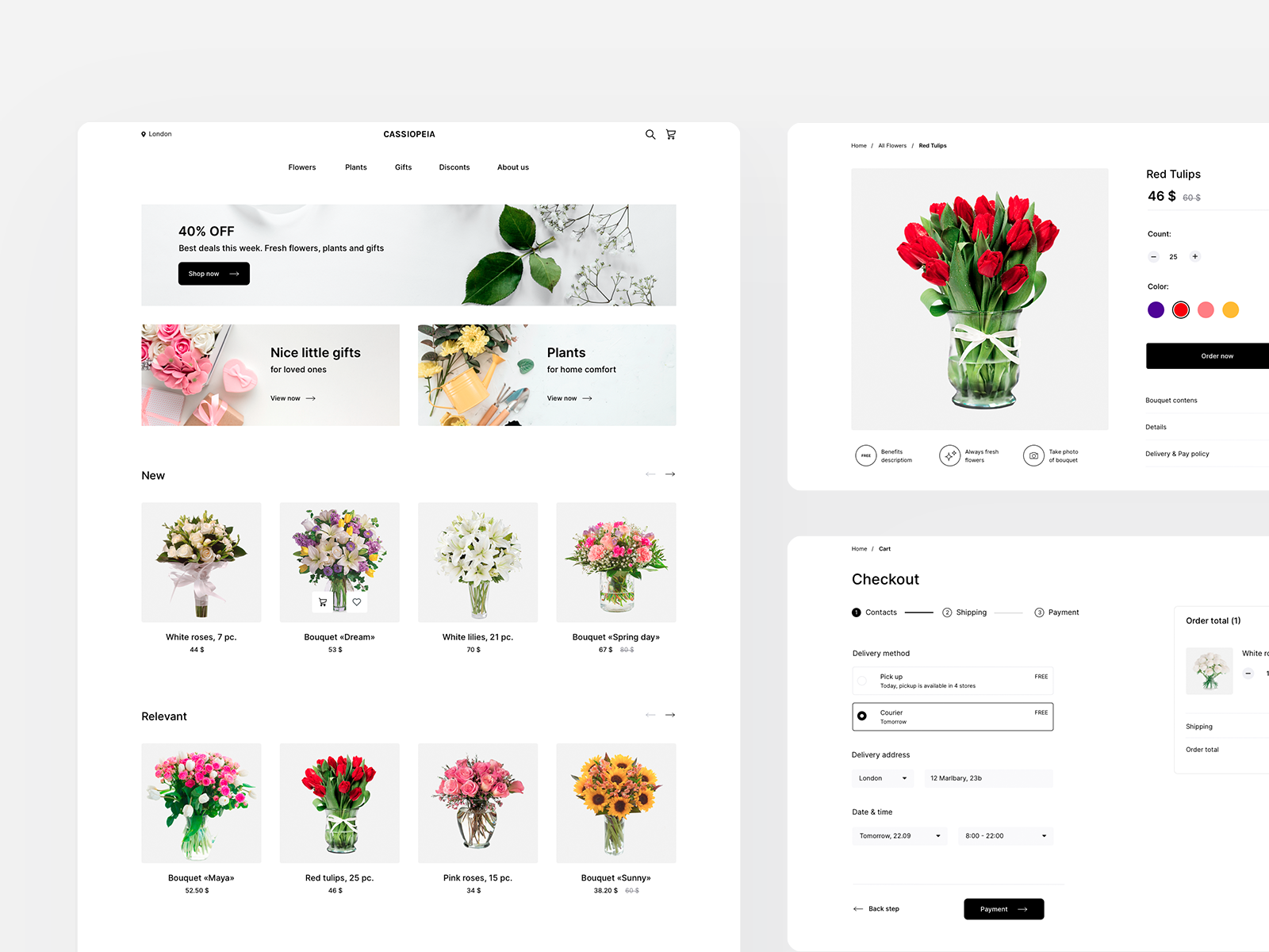 Cassiopeia | Flower store | Free UI kit cover image