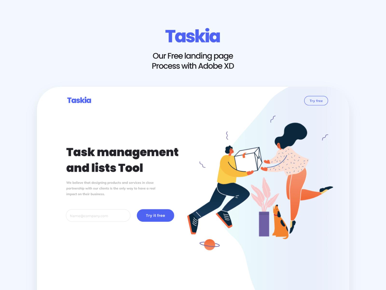 Taskia - Free Creative Landing Page cover image