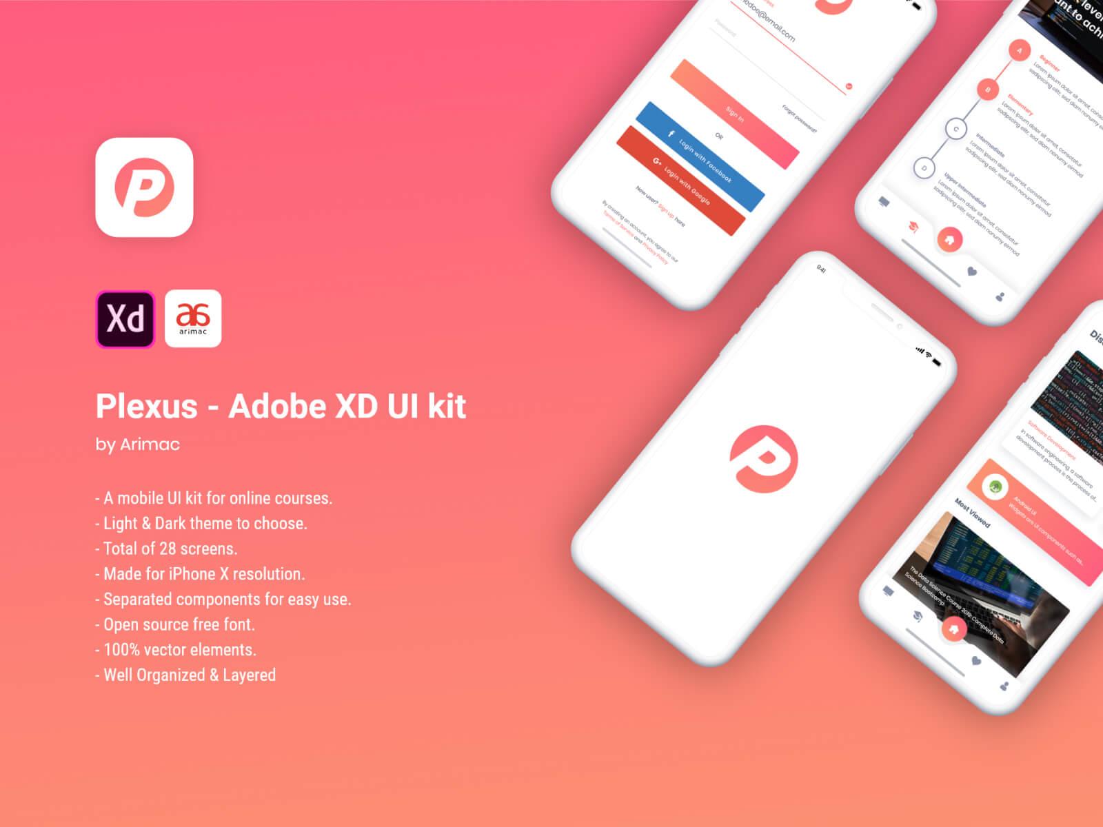 Plexus - Free Adobe XD UI Kit cover image