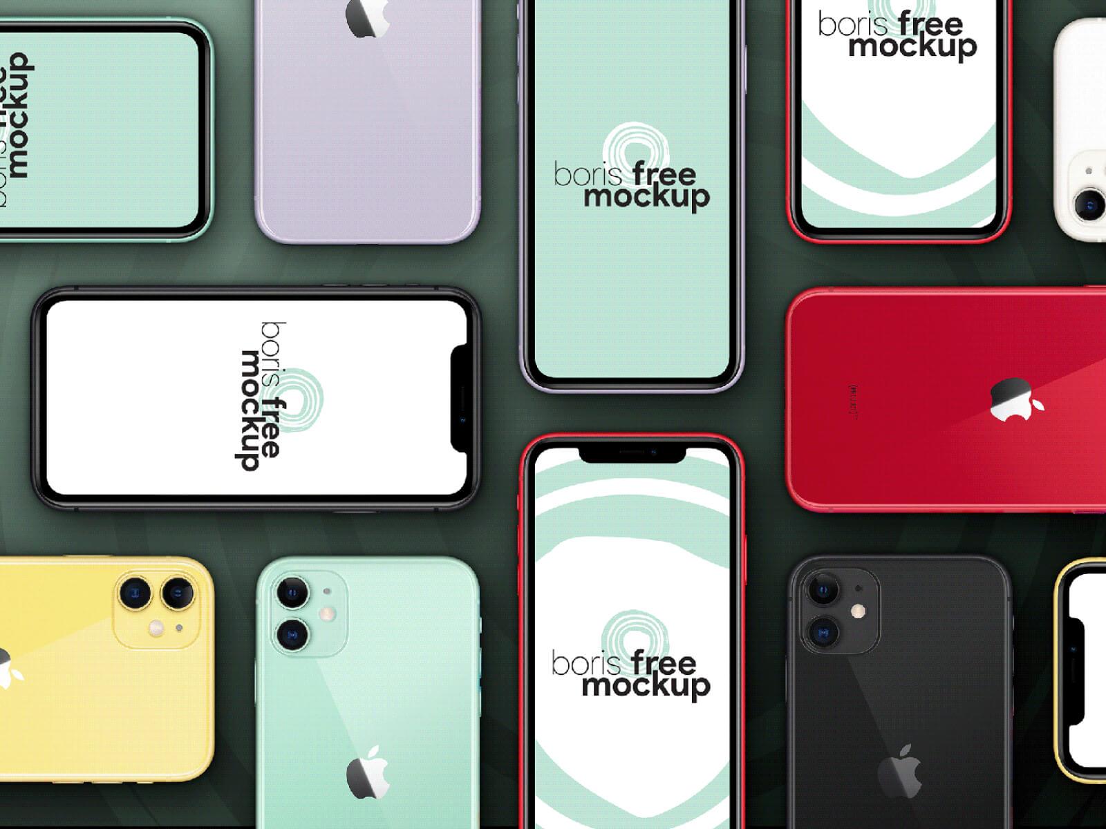 Six colors iPhone 11 flatlay mockup cover image
