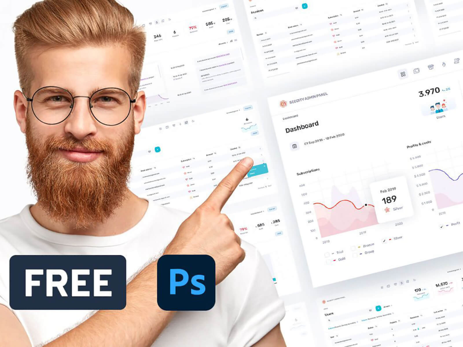 Free PSD admin panel from Seodity Team cover image