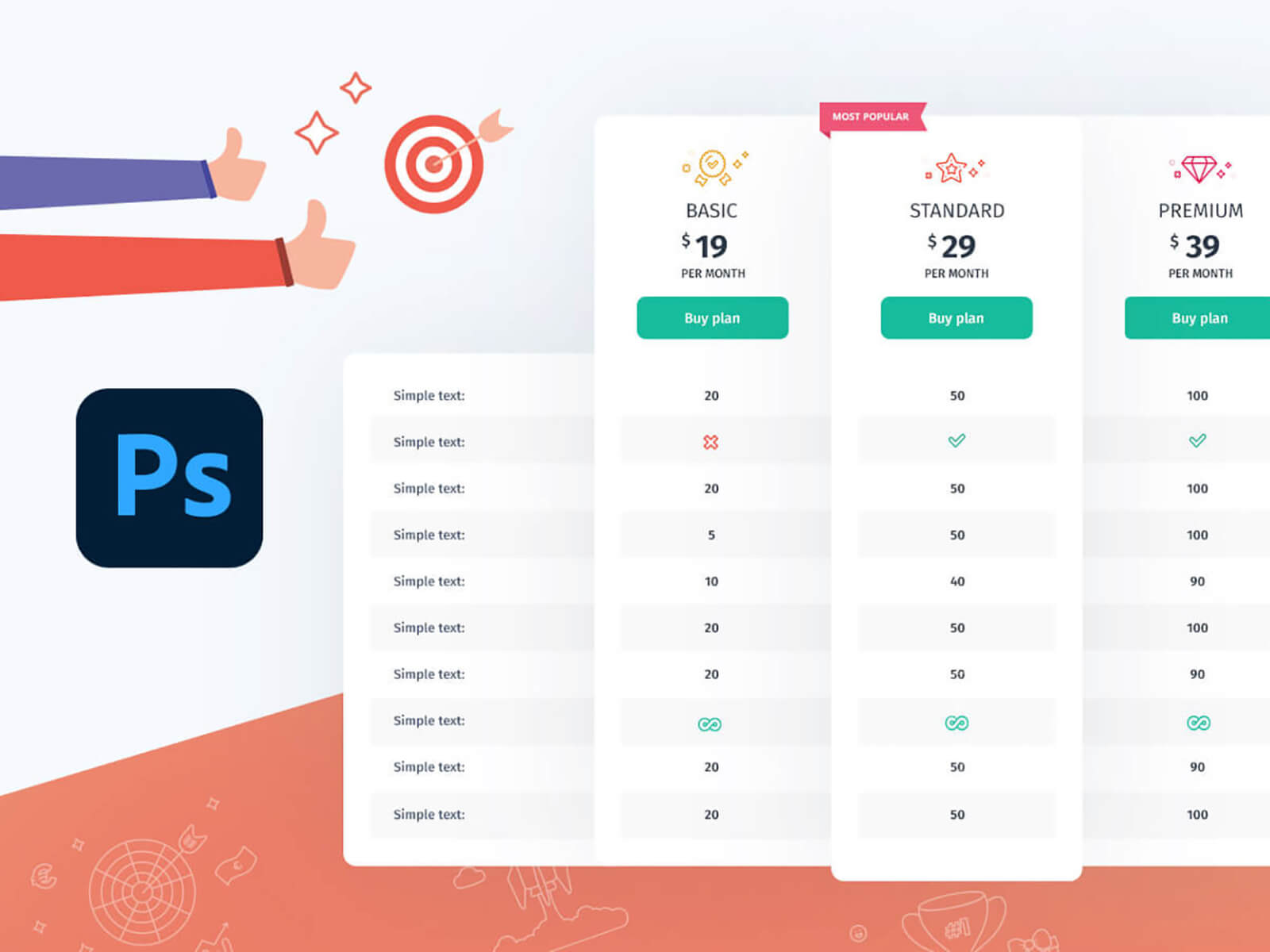 Free PSD pricing table from Seodity Team cover image