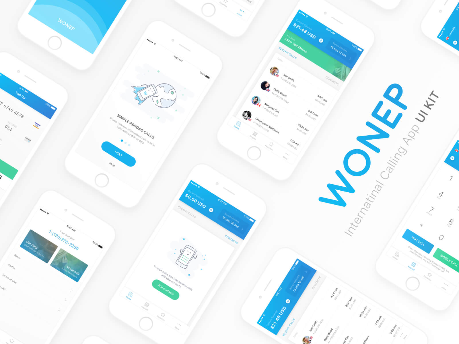 Wonep International Calling App UI Kit presentation image