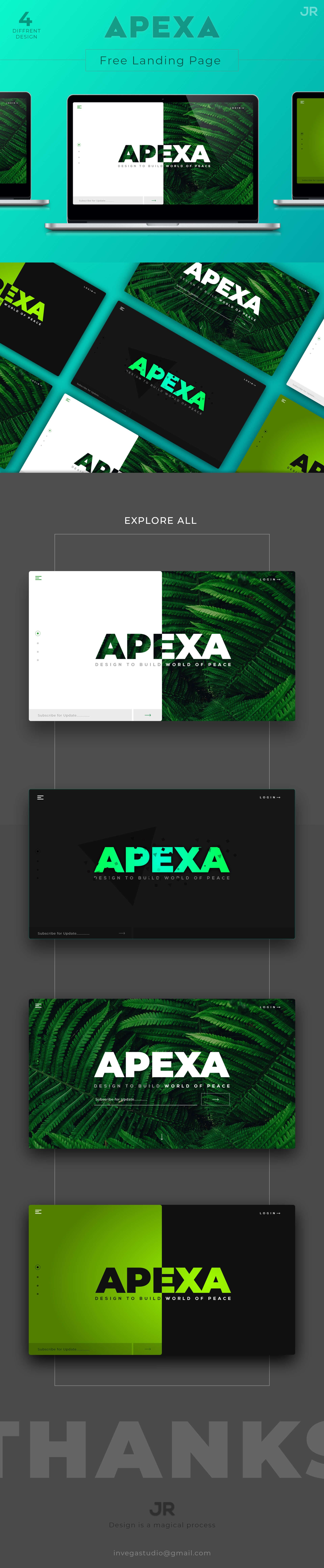 APEXA - Inspirations Landing page Design Template presentation image