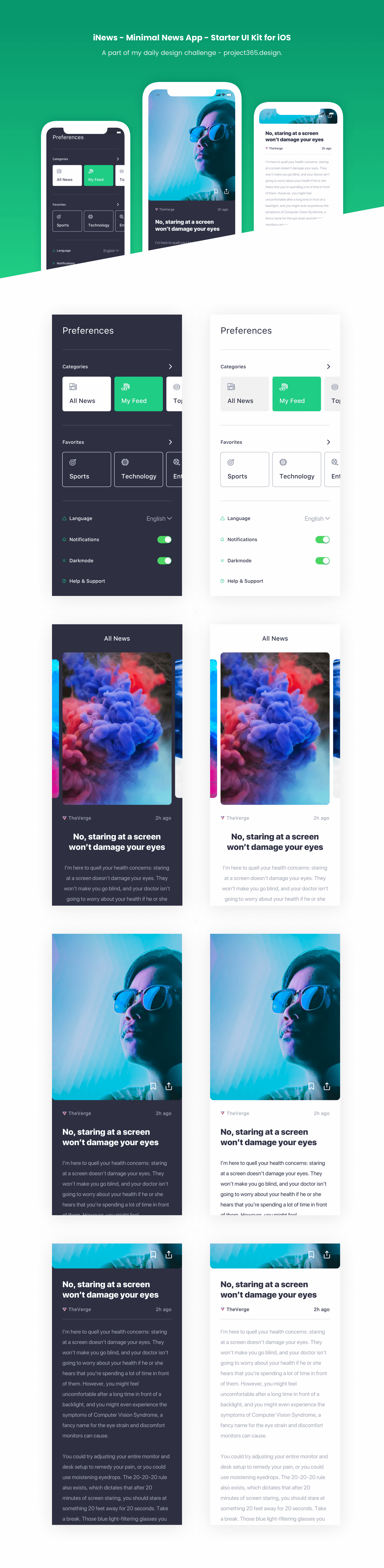 iNews - iOS UI Kit | Day 138/365 - Project365 presentation image
