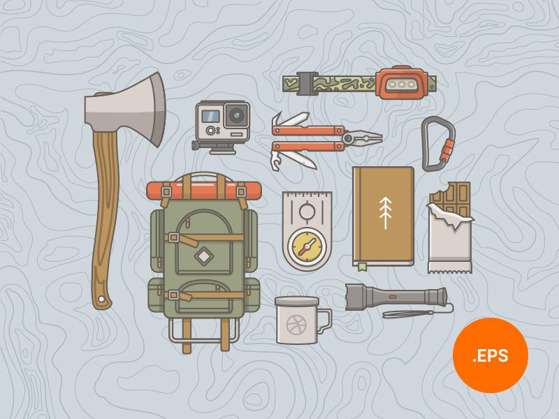 Hiking Icons Illustration set presentation image