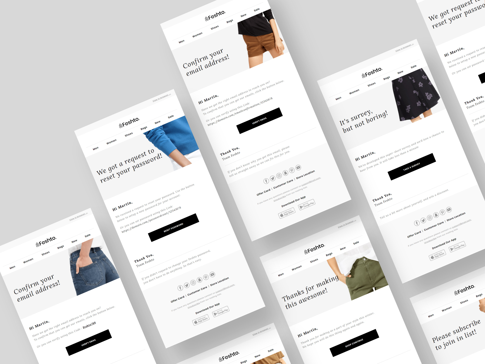 Feshto - Fashion Email Bundle. presentation image