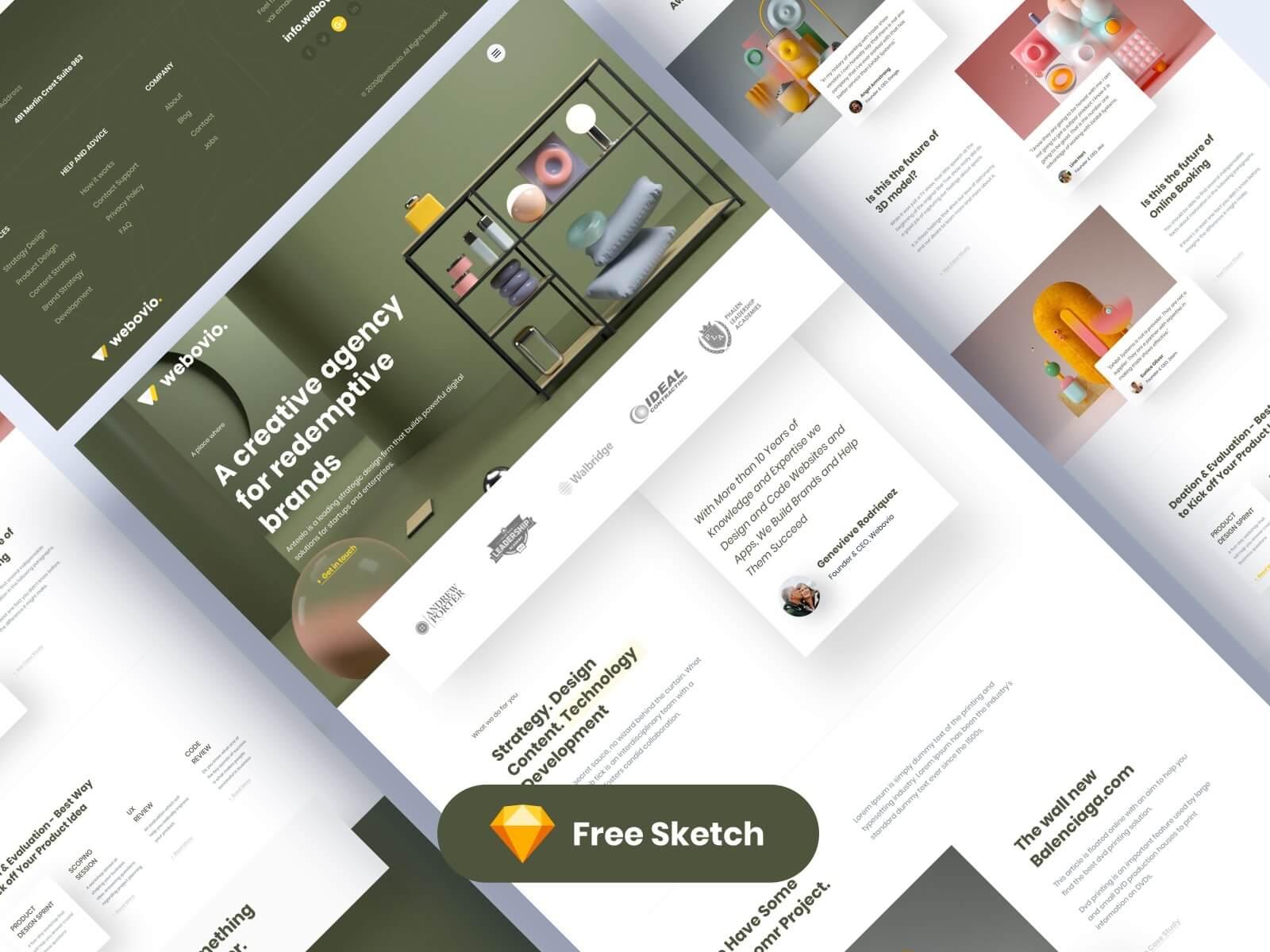 Webovio Creative Agency Landing Page presentation image