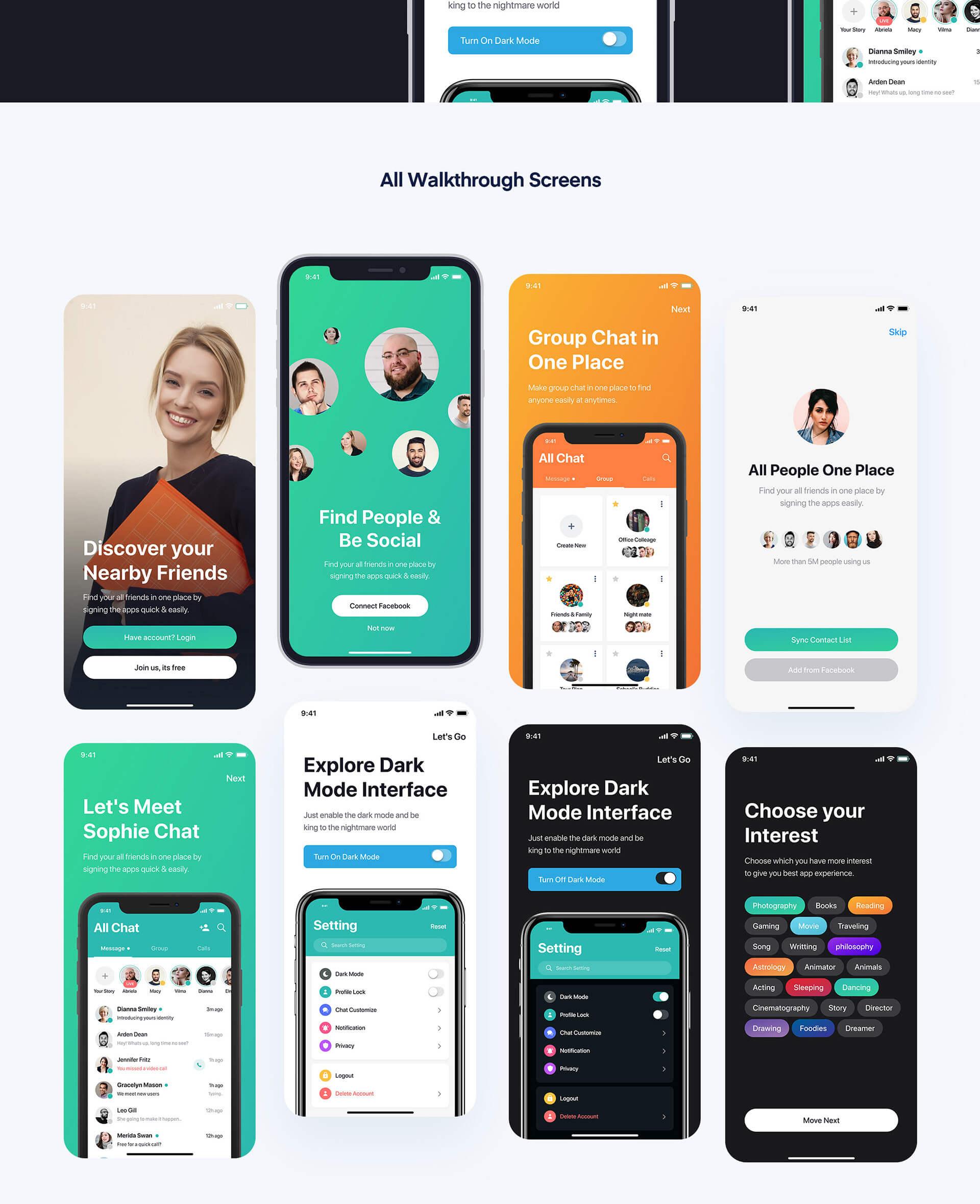 Sophie Messaging app ui kit presentation image