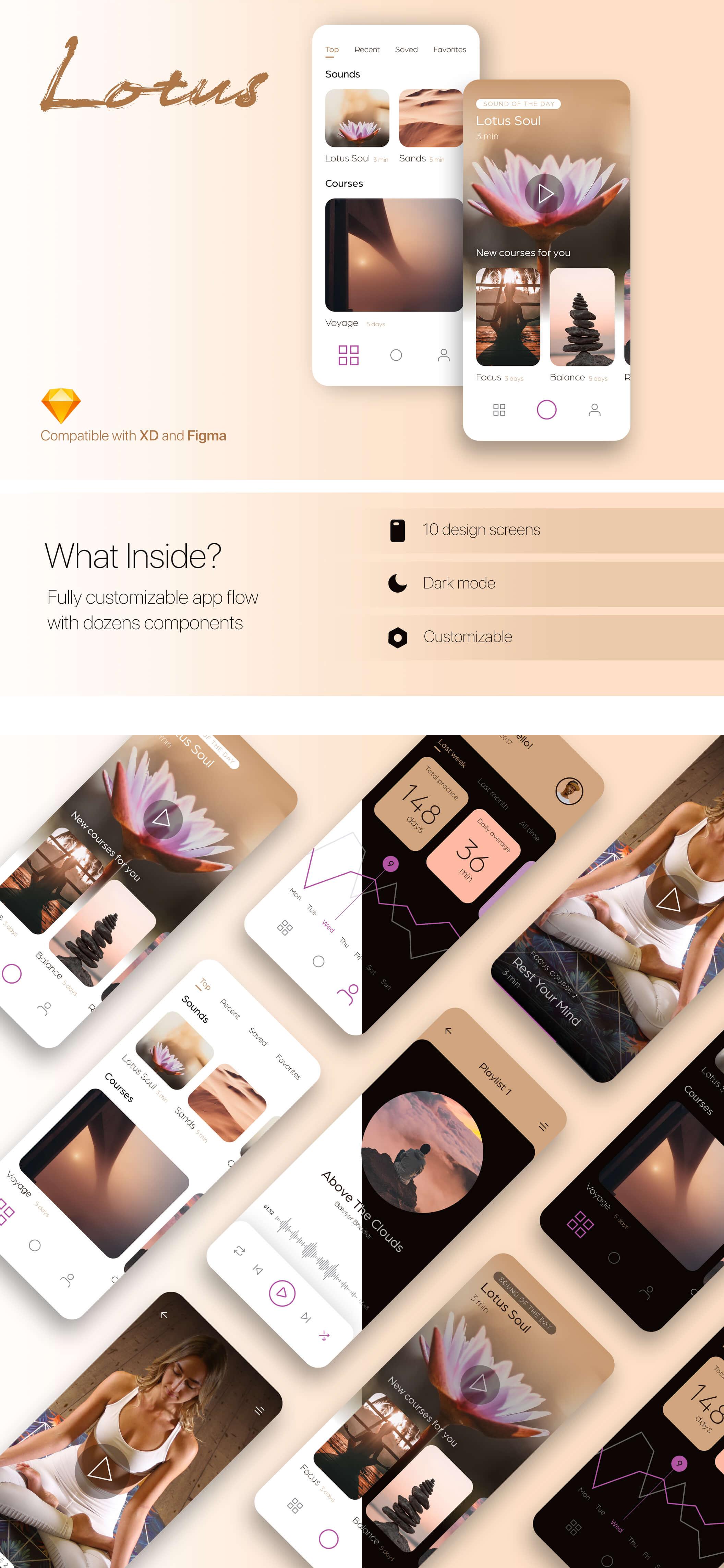Free Lotus Meditation UI Kit presentation image